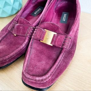 BALLY Plum Leather Suede Loafers